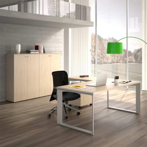 scrivania twist 200 180 cm con armadio e cassettiera salone ufficio milano. Black Bedroom Furniture Sets. Home Design Ideas